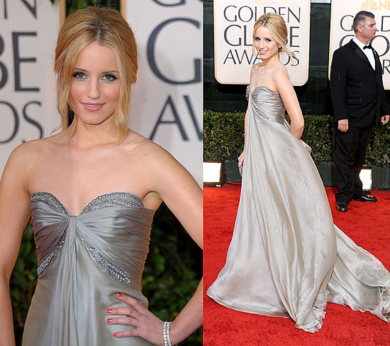 Glee's Dianna Agron looks ethereal tonight in her Reem Acra strapless silver