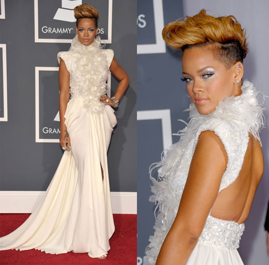 Feast on Rihanna's white, high-neck, open-back, crepe Elie Saab Couture gown