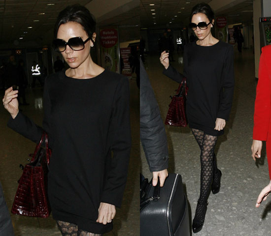 Pantyhose celebrities: Victoria Beckham black tights