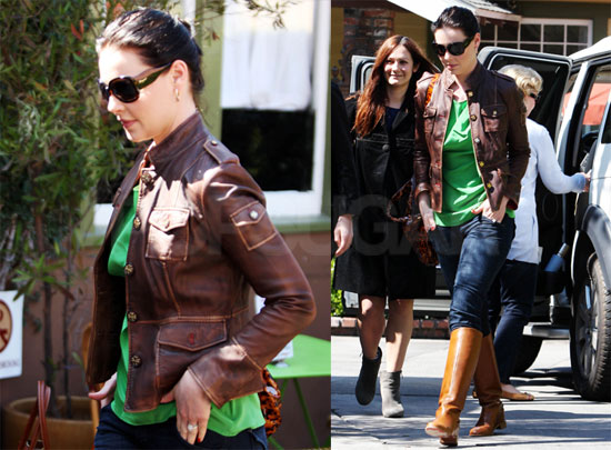 Photos of Katherine Heigl Wearing a Brown Leather Jacket and With