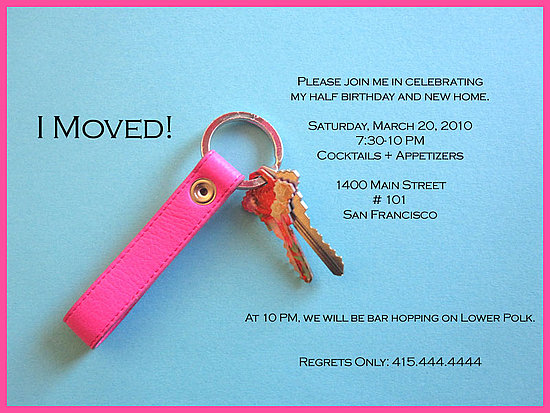 Come Party With Me Half Birthday Housewarming Invite