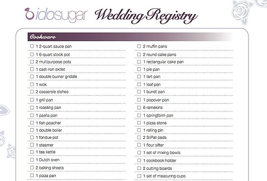 Wedding Gift Registry List. Wedding Gifts. Wedding Ideas And