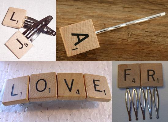 hacer hoquillas y pasadores con piezas scrabble