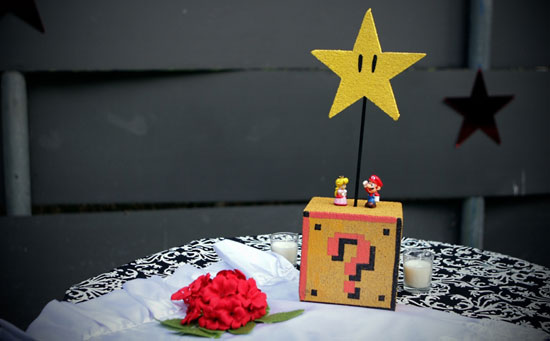 and Fire Flower centerpieces could add a geeky touch to any wedding