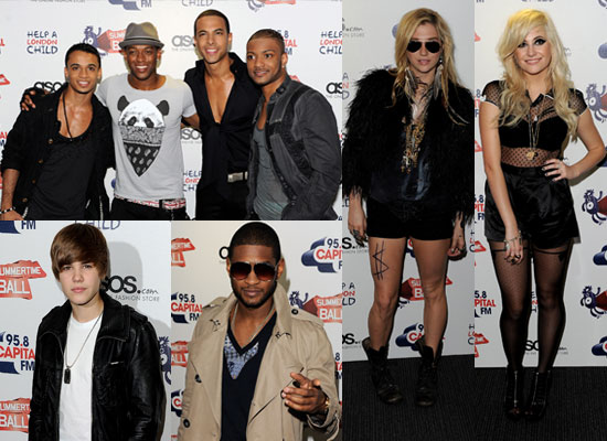 JLS, Justin Bieber, Ke$ha, Pixie Lott agus  Usher ag an Summertime Ball 2010