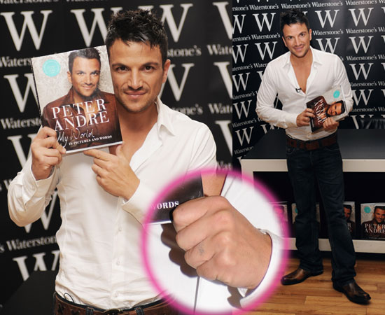 Pictures of Peter Andre Without Katie Tattoo on Wedding Ring Finger at Book