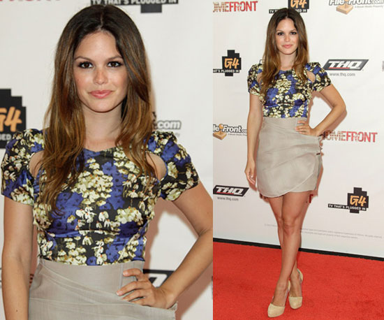 Rachel Bilson Wearing a Beige Skirt, Floral Blouse, and Brian Atwood Pumps ...