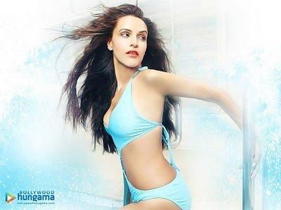 Neha Dhupia bikini blue