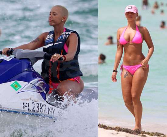 amber rose and kanye west at the beach. house Kanye West and Amber