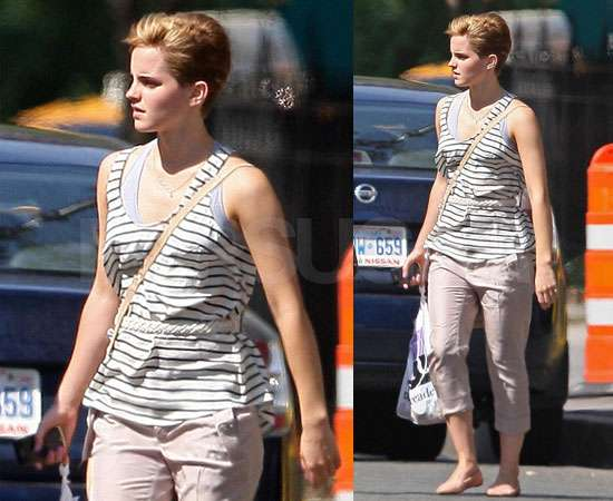 Pictures of Emma Watson New Hair Cropped Hairstyle in NYC Doing Harry Potter