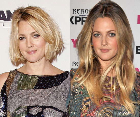 pictures of drew barrymore with short and long hair
