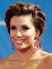 Eva Longoria in a burnette short updo hairstyle with carmel high lights