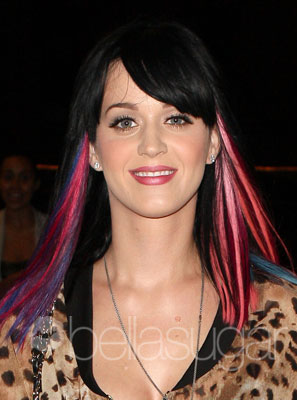 Katy Perry Natural Hair Color on Katy Perry With Multicolored Hair Extensions