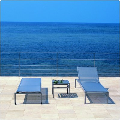 Metal Patio Furniture Sets on Patio Furniture  Via Outdoor Sling Chaise Lounge Set 3 Piece