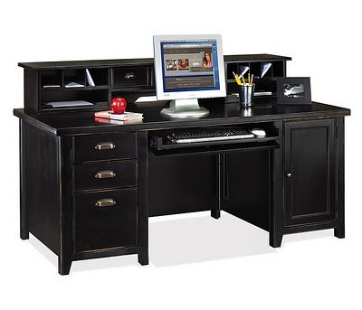 on design office furniture distressed black computer desk with hutch