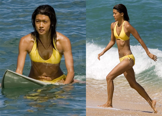 ... Grace Park Wearing a Yellow Bikini Surfing on the Set of Hawaii Five-0