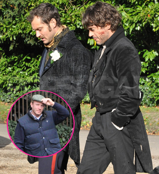 Pictures Of Robert Downey Jr And Jude Law Shooting Sherlock Holmes 2 Popsugar Celebrity