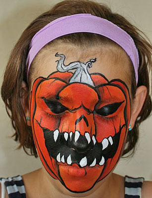 Eep this evil jack o lantern face paint is seriously scary face