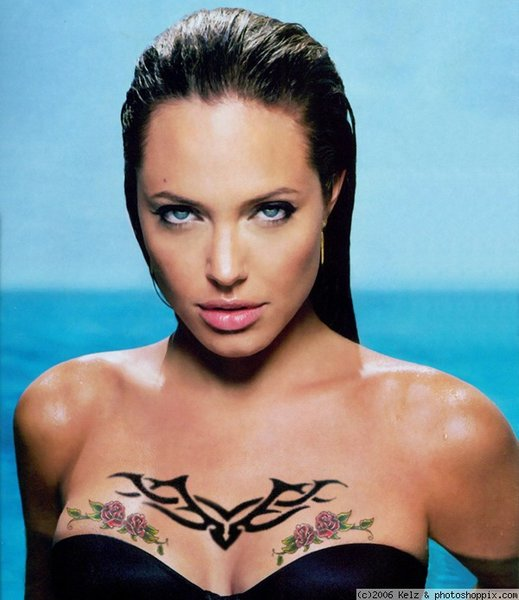 "Angelina Jolie and her famous tattoos. • Billy Bob"", the name of her former"