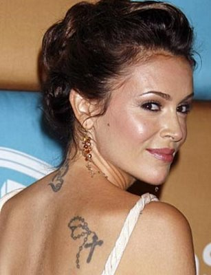 alyssa milano celebrity sexy tattoo