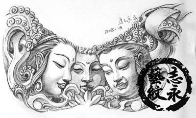 Tattoo Drawings  Sketches on Another Free Tattoo Design Sketch  Can You Count How Many Buddhas