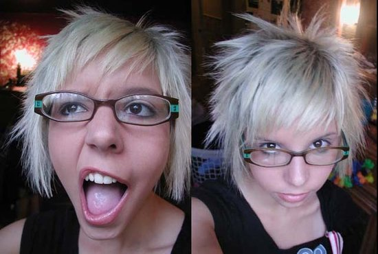 Nice emo hair for girls. short white emo hair for girls