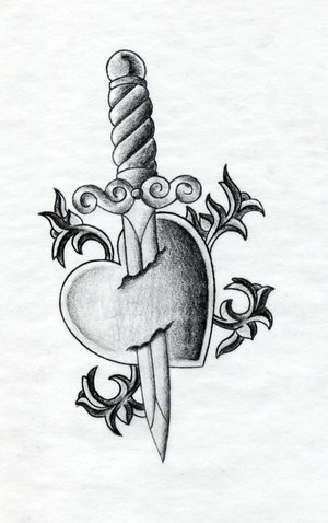 Nice Heart and Dagger Tattoo