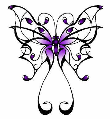 New Idea Purple Butterfly Tattoo