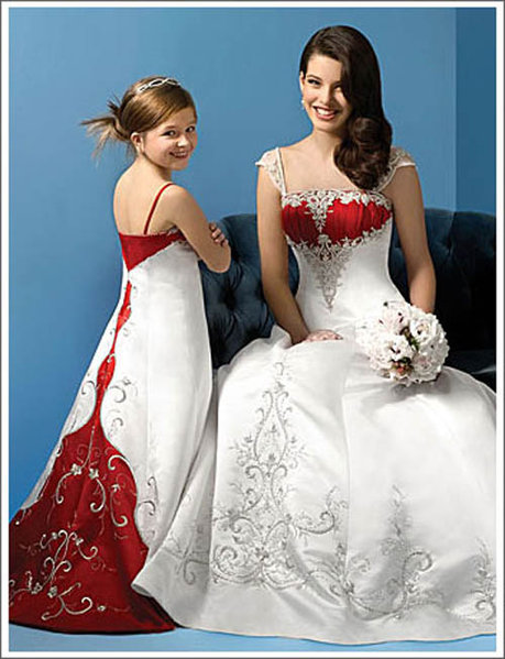 Red and White Corset Wedding Dresses:Wedding