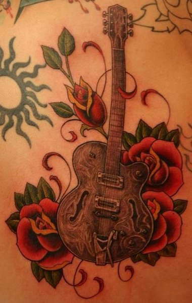 Enjoy this picture gallery of some top notch Guitar tattoos.