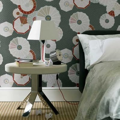 Bedroom Interior With Lamp Modern wallpaper