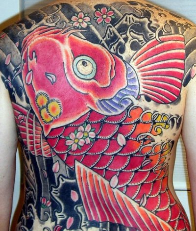 the preferred places for female wearers of the Japanese Koi fish tattoo.