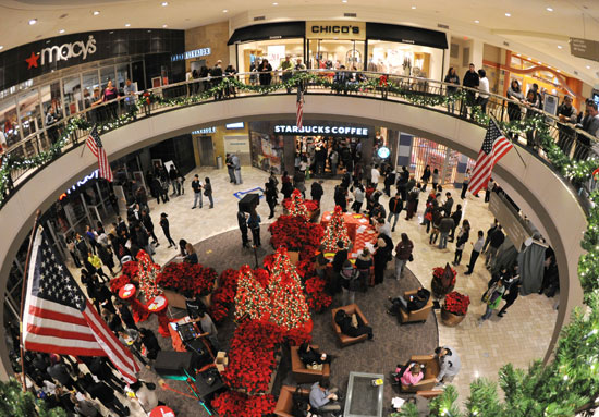 mall at christmas