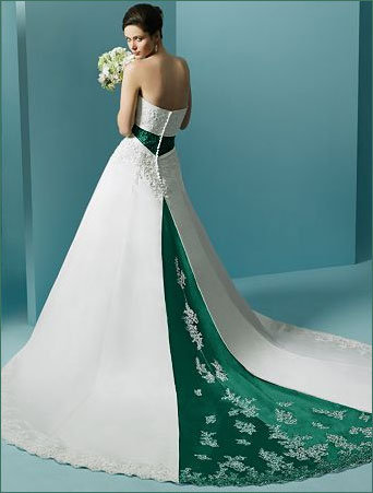 line strapless wedding dress beautiful colored wedding gowns green and