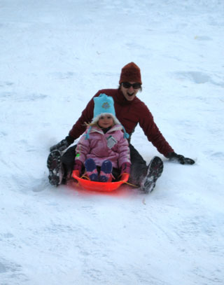 sledding, 
