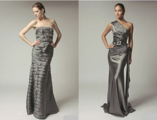 Grey Prom Dresses with Crystal Jeweled