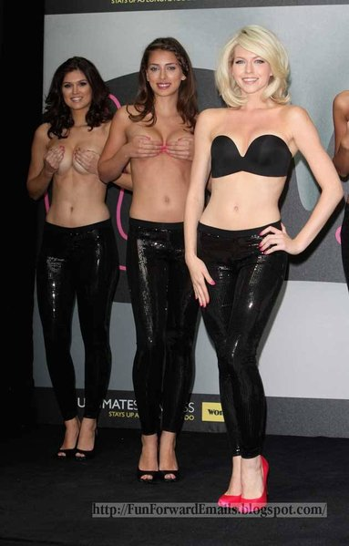 Models Hold Breasts for Bra
