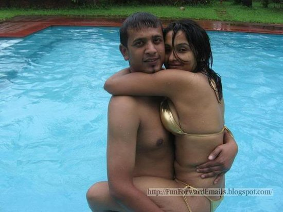 Hot Teenage Desi GF BF Couple in Swimming Pool - Bikini Pics