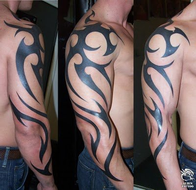 Tribal arm tattoos are easy to combine with other tattoos