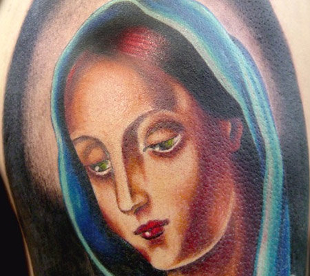 smoke tattoo. hot smoke tattoos mother mary