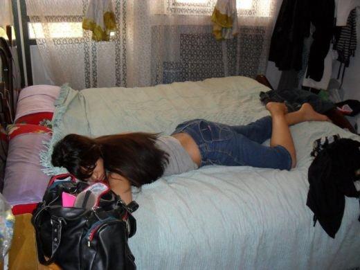 Sleeping desi girl hidden