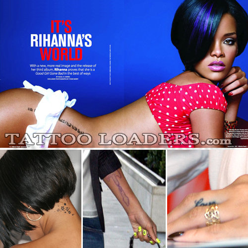 rihanna tattoos on side. Rihanna Tattoo Neck