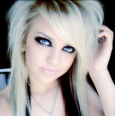 emo haircuts for girls with medium. blonde medium emo hairstyles