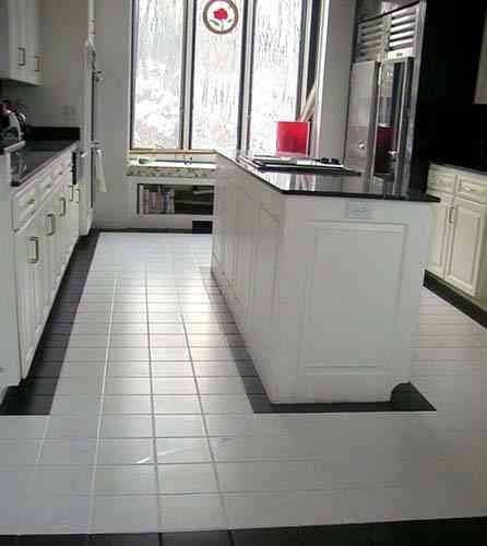 black and white tile kitchen floor. Black And White Kitchen