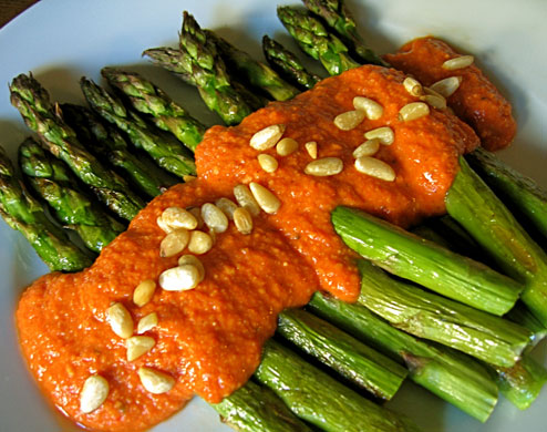 ... Spanish inspired romesco sauce featuring roasted red peppers pureed