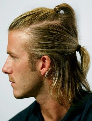 david beckham hairstyles blonde. David Beckham Long Ponytail