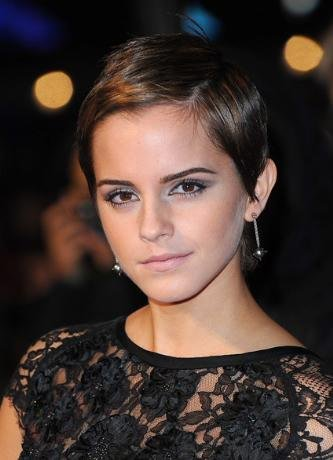 emma watson short hair black dress. emma watson haircut. emma