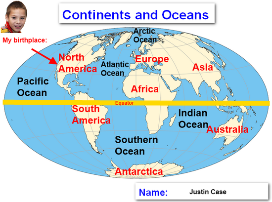 Lisovzmesy World Map Continents Labeled - World map oceans labeled