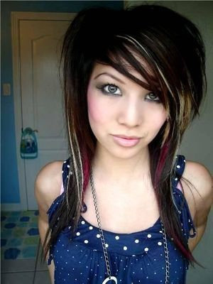 emo girls with black and pink hair. lack and blonde scene hair