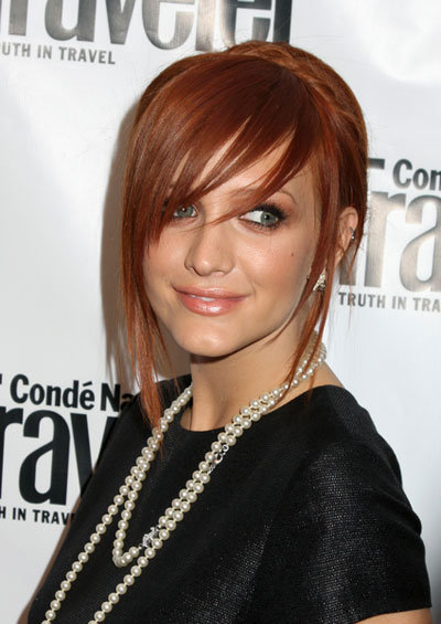brown hair with red and blonde hair highlights. Ashlee Simpson#39;s red hair